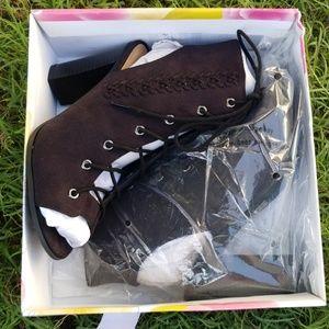 Black suede casual heels